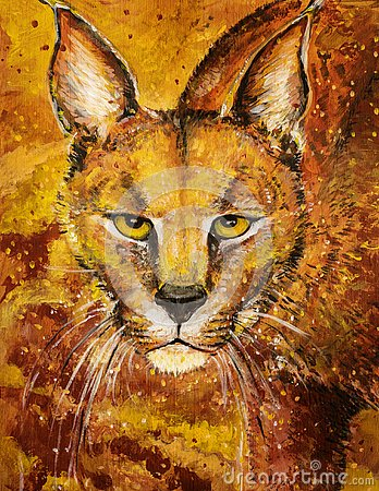 Free Orange Lynx Art In Acrylics Stock Images - 131435604
