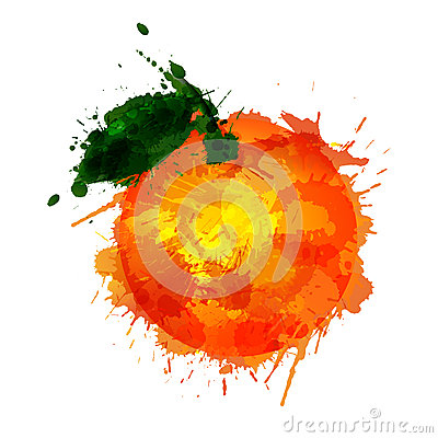 Orange  made of colorful splashes