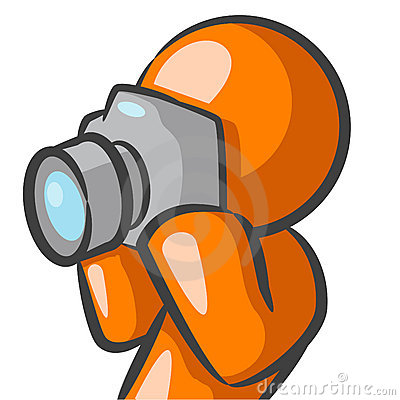 Orange man with camera