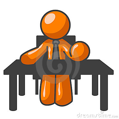 Orange man at desk