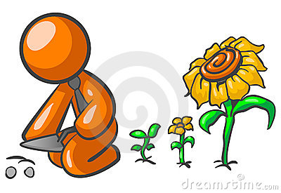 Orange man growing plants