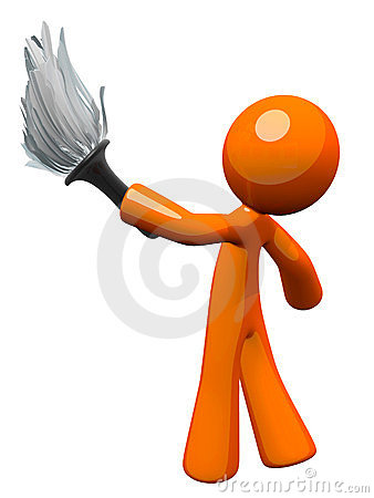 Orange Man Holding Feather Duster