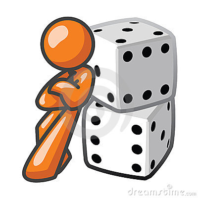 Orange Man Leaning Against Dice
