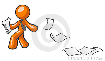 Orange man with papers