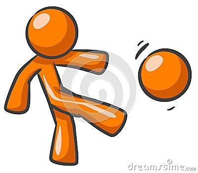 Orange man playing football