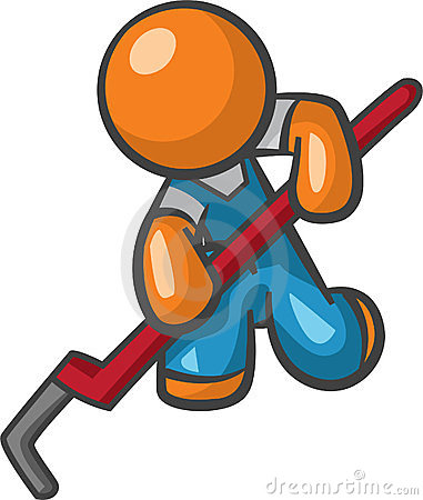 Orange Man Plumber with Pipe Wrench