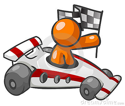 Orange man in race car