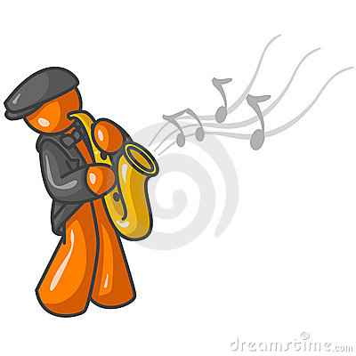 Orange man saxophone