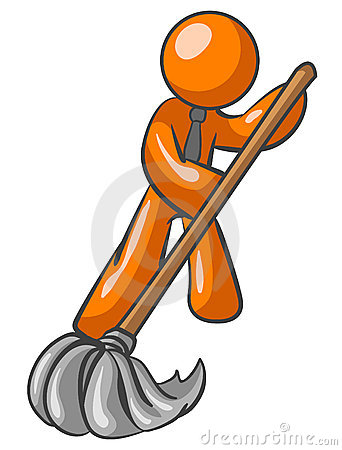 Free Orange Man Sweeping Royalty Free Stock Image - 5384706