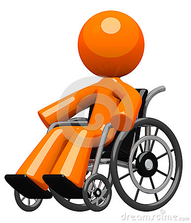 Orange Man in Wheel Chair Disabled or Impaired