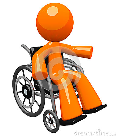 Orange Man in Wheel Chair Gesturing to Audience
