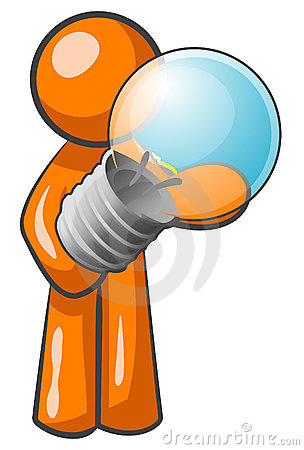 Free Orange Man With Bulb Stock Photography - 5384702