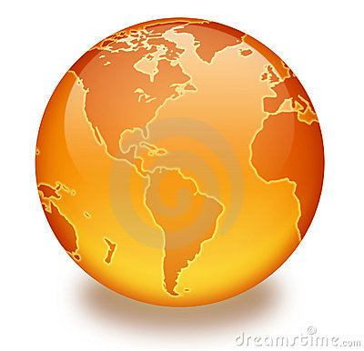 Orange Marble Globe