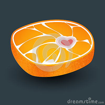 Orange with meat structure and bone in form heart