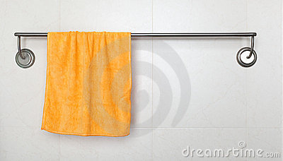 Orange microfiber towel