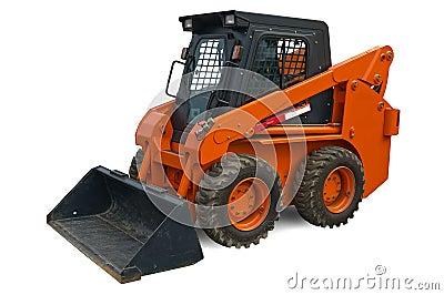 Orange mini wheel excavator