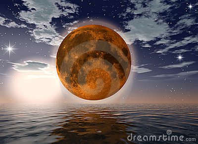 Orange moon over the ocean