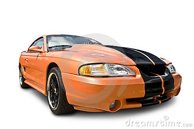 Orange Muscle Car isolated on white