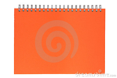 Orange notebook on a spring