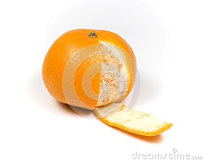 Orange with one slice peel
