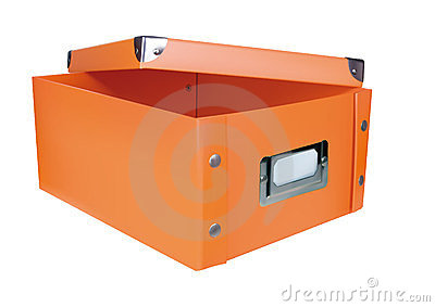 Orange opened storage box