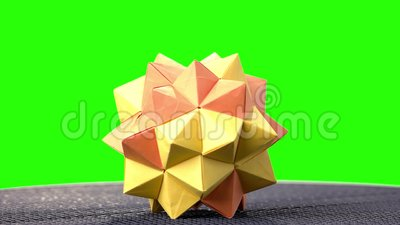 Spiky Origami Model On Green Screen. Stock Video - Video of ... | 225x400