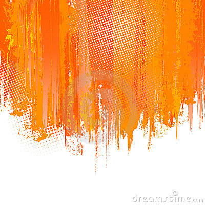 Orange paint splashes background. Vector