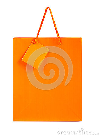 Orange paper bag isolated