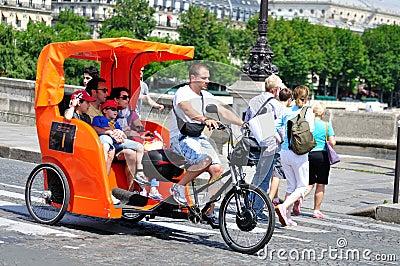 Orange Pedicab In Paris Editorial Image Image 52634155