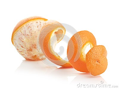Orange with peeled spiral skin