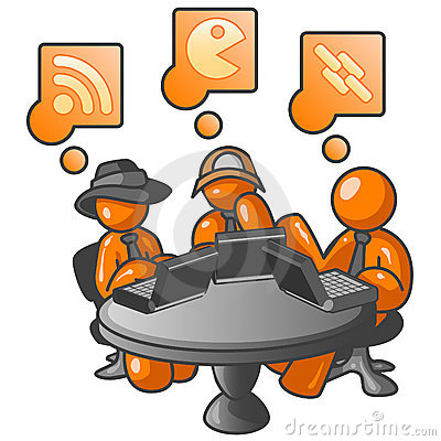 Orange people at internet cafe