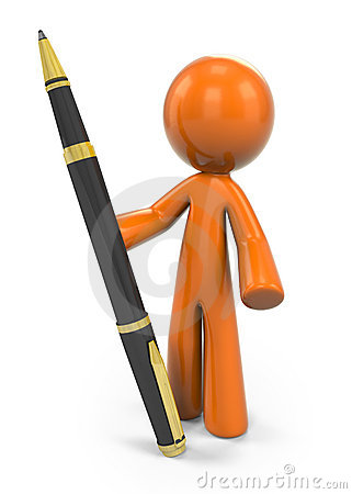 Orange person with pen