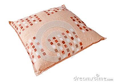 Orange pillow isolated on white background