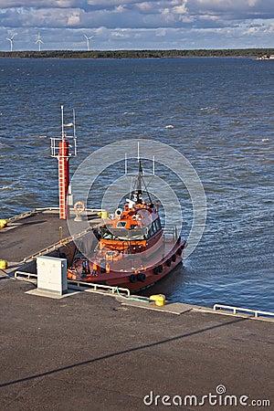 Orange Pilot boat in harbour
