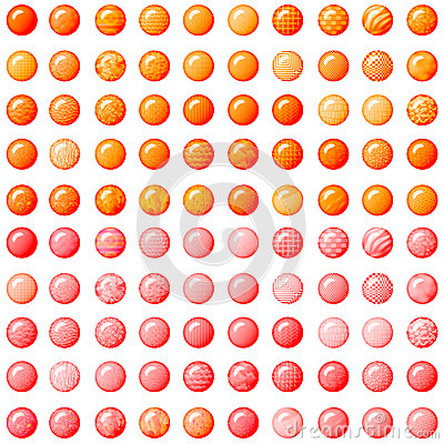 Orange and pink buttons