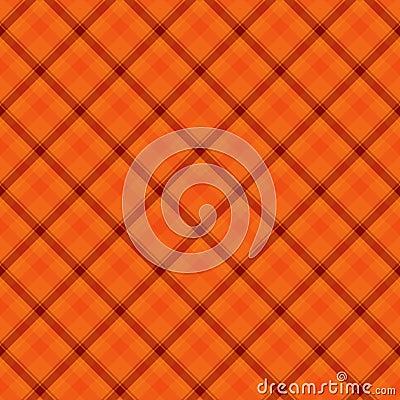 Orange  Plaid Fabric Background