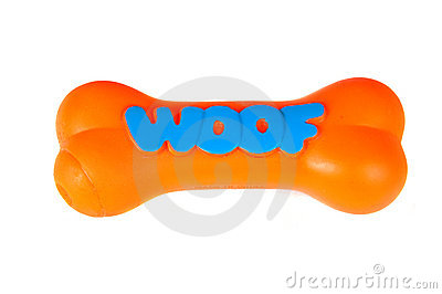 Orange plasgtic dog chew toy, isolated on white