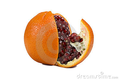 Orange with pomegranate inside