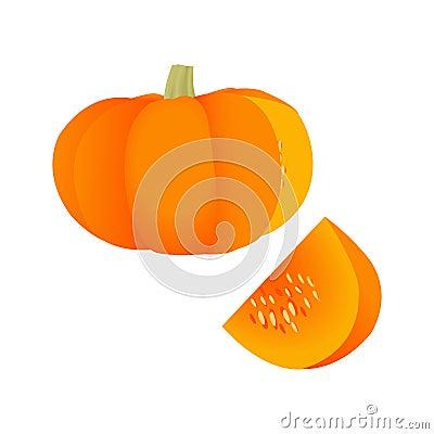 An orange pumkin and a piece of pumkin Vector Illustration