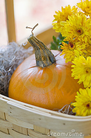 Orange pumpkin and yellow mums in basket