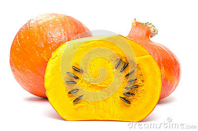 Orange pumpkins with seeds