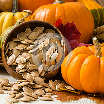 Free Orange Pumpkins With Toasted Pumpkin Seeds Stock Images - 36985044