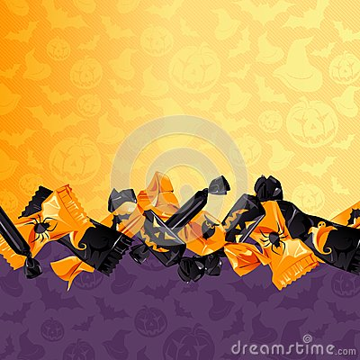 Colorful Halloween candy background