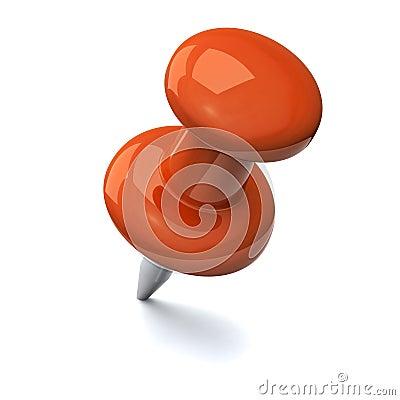 Orange push pin 3d