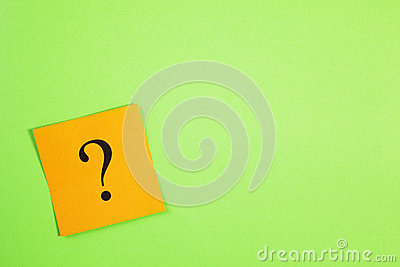 Orange Question Mark on Green Background