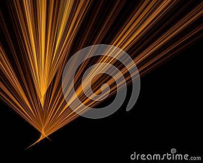 Orange rays on black background