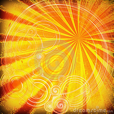 Orange rays and curves texture