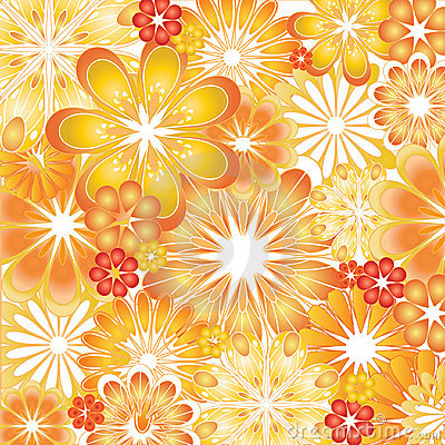Orange and Red Flower Vector Illustrations