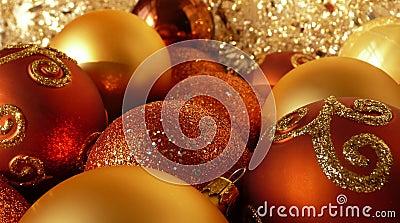 Orange Red & Gold Christmas Balls