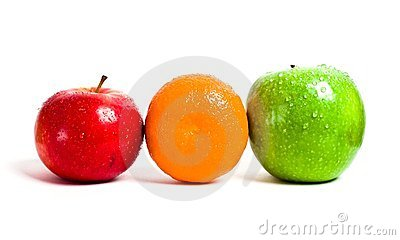 Orange, red and green apple